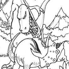 Desenho do Tiranossauro lutando com o tricerátopo para colorir