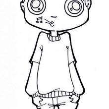 Desenho de um menino assobiando para colorir