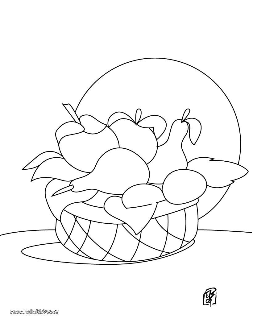 Desenho de uma cesta de frutas para colorir
