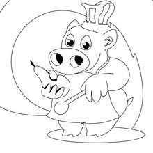 Desenho de um pequeno porco, chefe de cozinha para colorir online