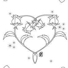 Desenho de rosas formando um coração para colorir