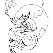 Desenho de um dragão fumando cachimbo para colorir