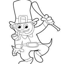 Desenho de um leprechaun feliz para colorir
