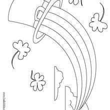 Desenho do chapél do Leprechaun com um arco-íris para colorir