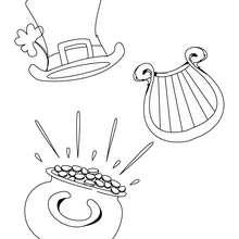 Desenho de um Pote de ouro, uma Harpa e um chapél para colorir