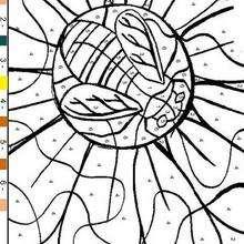 Abelha e Flor : Colorir seguindo os números