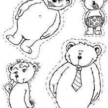 Desenho de uma família de ursos para colorir