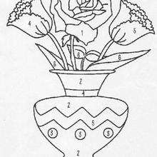 Colorir vaso de flores pelos números