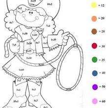 Menina do faroeste para colorir em função dos numeros