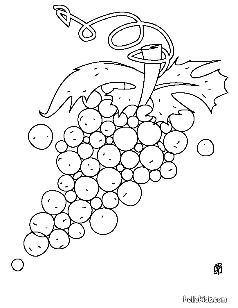 Desenho de uvas para colorir