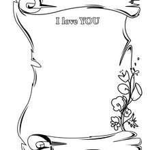 Papél com I love you para imprimir e colorir