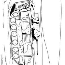 Desenho de um tanque de guerra para colorir