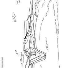 Desenho de um avião de caça para colorir