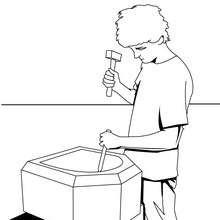 Desenho de um carpinteiro para colorir