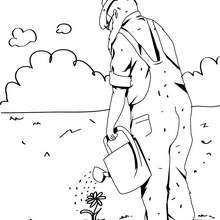 Desenho de um jardineiro para colorir