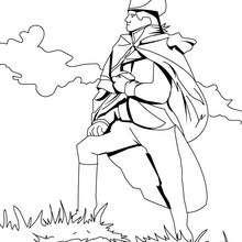 Desenho de um soldado orgulhoso para colorir