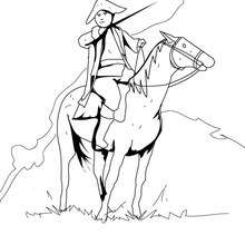 Desenho de um soldado americano com seu cavalo para colorir