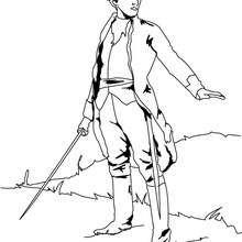Desenho de um soldado com sua espada para colorir