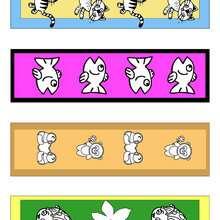 Marcadores de página coloridos pela metade com animais