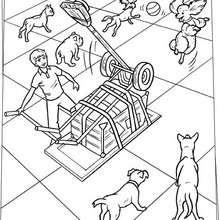 Desenho da máquina para jogar bolas para os cachorros para colorir