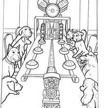 Desenho da máquina de lanches pros cachorros para colorir
