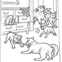 Desenho de cachorros brincando para colorir