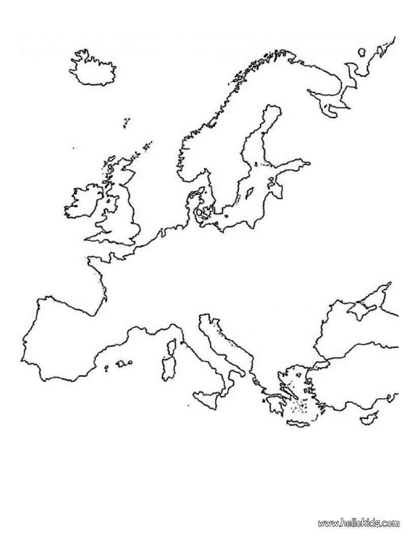 O mapa da Europa para colorir