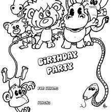 Desenhos Para Colorir De Convite De Aniversario Com Animais Pt