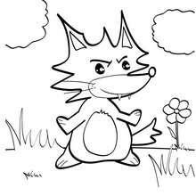 Desenho de uma pequena raposa para colorir