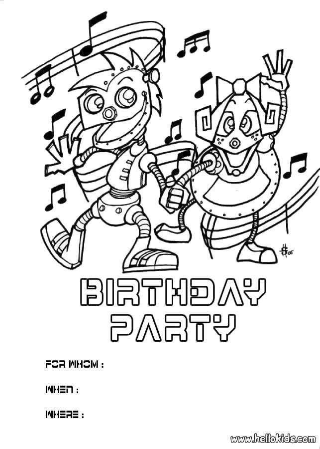 Convite para festa de aniversário :  Robô