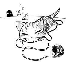 Desenho de um gatinho muito fofo para colorir
