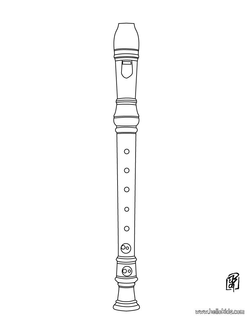 desenhos para colorir de desenho de uma flauta para