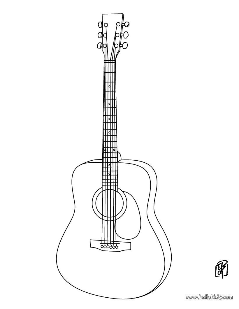 Desenho de um violão para colorir