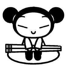 Desenho da Pucca com seus palitos Hashi para colorir