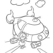 Desenho da June com o foguete dos Mini Einstens para colorir
