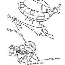 Desenho do foguete com o cavaleiro dos Mini Einstens para colorir