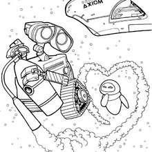Desenho do WALL-E com a EVA no espaço para colorir