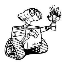 Desenho do WALL-E dando flores para a EVA para colorir