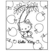 Desenho da Hello Kitty com maçãs para colorir
