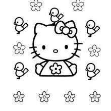 Desenho da Hello Kitty com pássaros para colorir