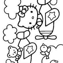 Desenho da Hello Kitty com seus amigos para colorir