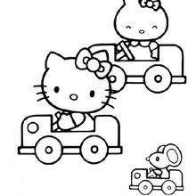 Desenho da Hello Kitty e seu carro para colorir