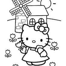 Desenho da Hello Kitty e do moinho para colorir