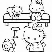 Desenho da Hello Kitty em casa para colorir
