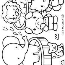 Desenho da Hello Kitty no jardim zoológico para colorir