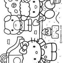 Desenho da Hello Kitty fazendo um castelo de areia para colorir