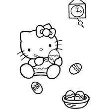Desenho da Hello Kitty colorindo ovos de Páscoa para colorir