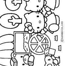 Desenho da Hello Kitty comendo pipoca com seus amigos para colorir