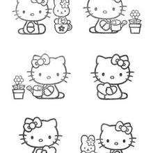 Desenho da Hello Kitty fazendo jardinagem para colorir