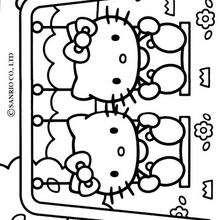 Desenho da Hello Kitty nadando para colorir